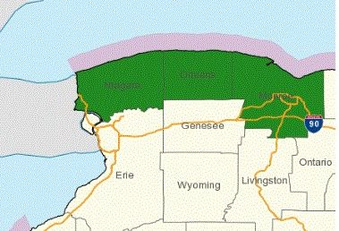 National Weather Service map shows area under lakeshore flood warning.