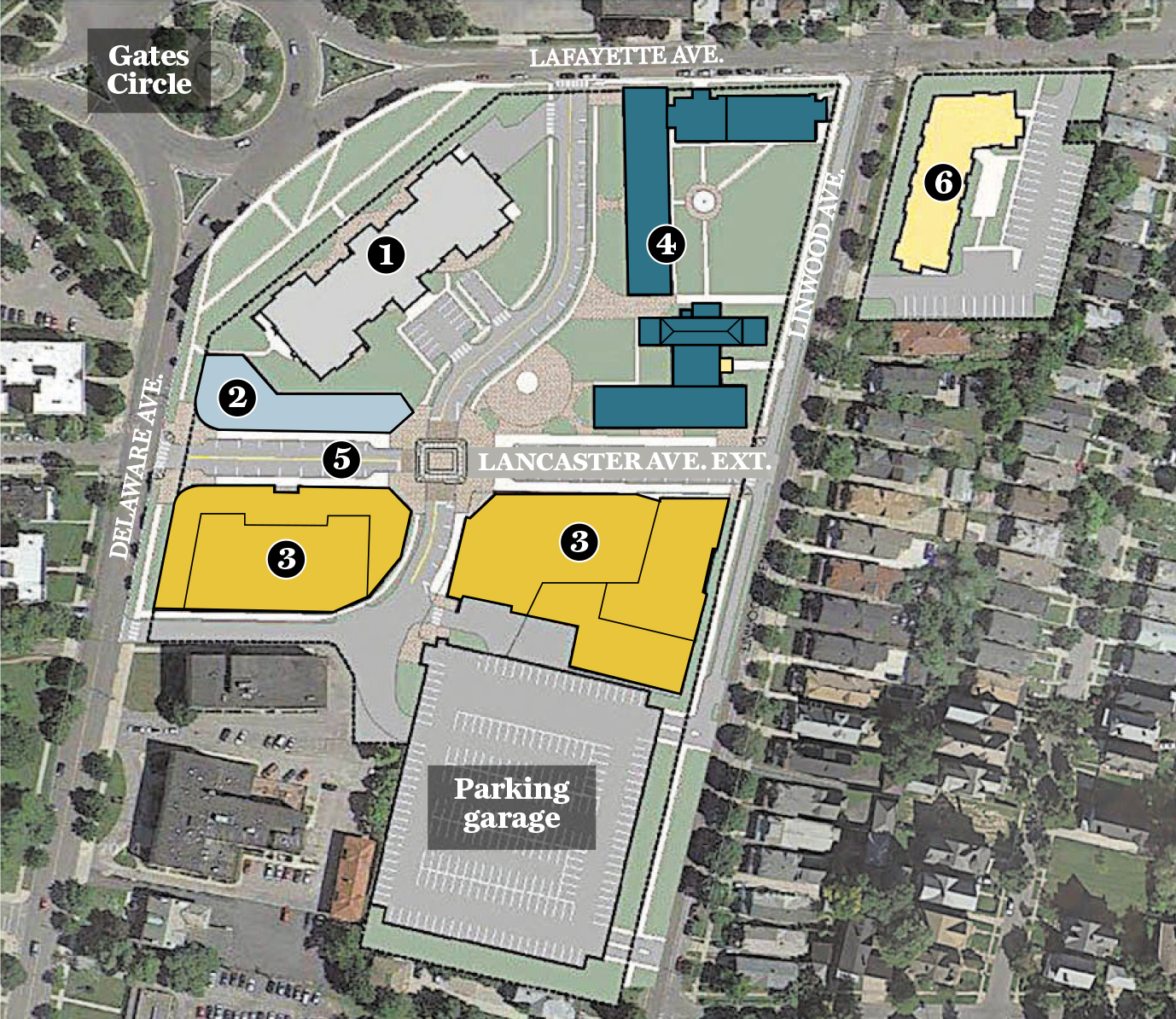 TM Montante Development and Morgan Communities are developing a $150 million redevelopment plan for the former site of Millard Fillmore Gates Hospital. (Buffalo News illustration)
