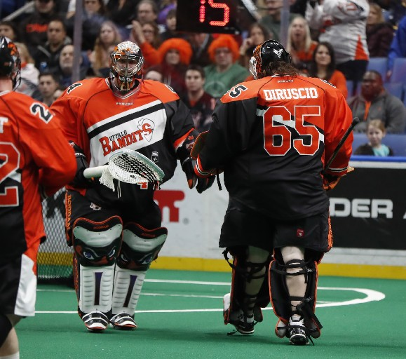 Anthony Cosmo and Dave DiRuscio have had their problems in the Bandits' net this season. (Harry Scull Jr. / Buffalo News)