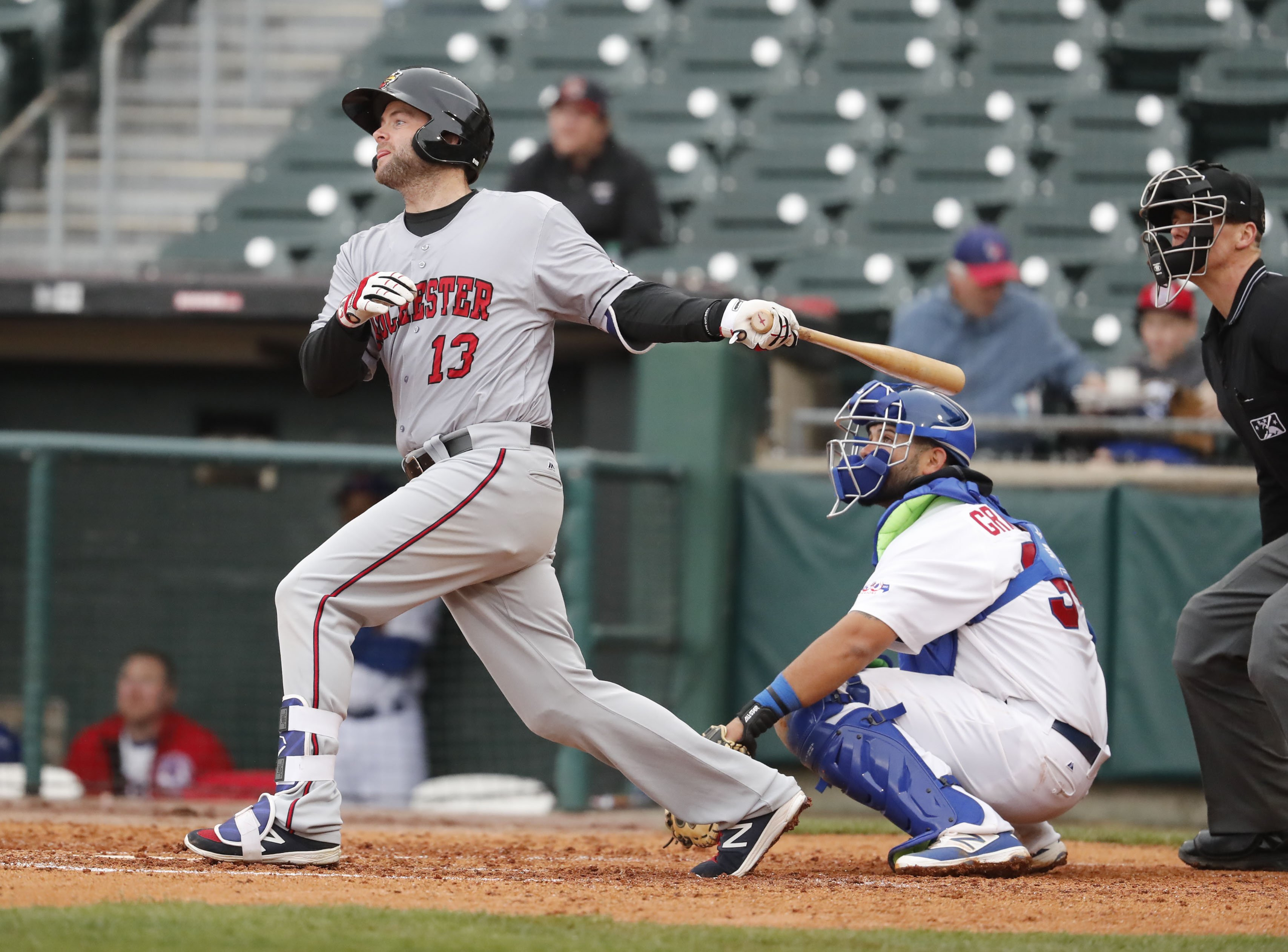 Matt Hague returned to Coca-Cola Field as a member of the Rochester Red Wings. (Harry Scull Jr./Buffalo News)