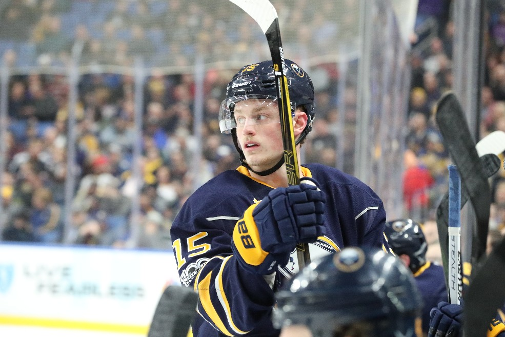 "Jack Eichel had some fun with the guys from ""On the Bench."" (James P. McCoy/Buffalo News)"