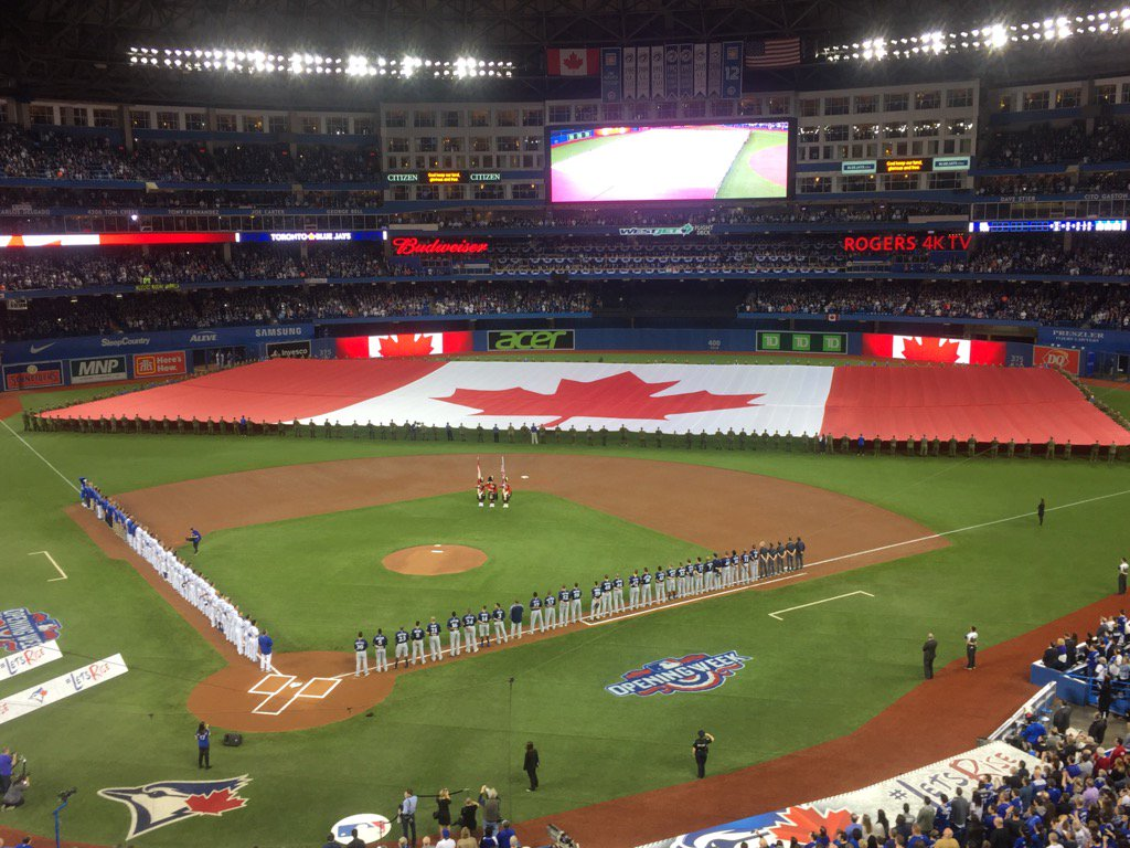 The scene at Rogers Centre during the anthems Monday night (Mike Harrington/Buffalo News).
