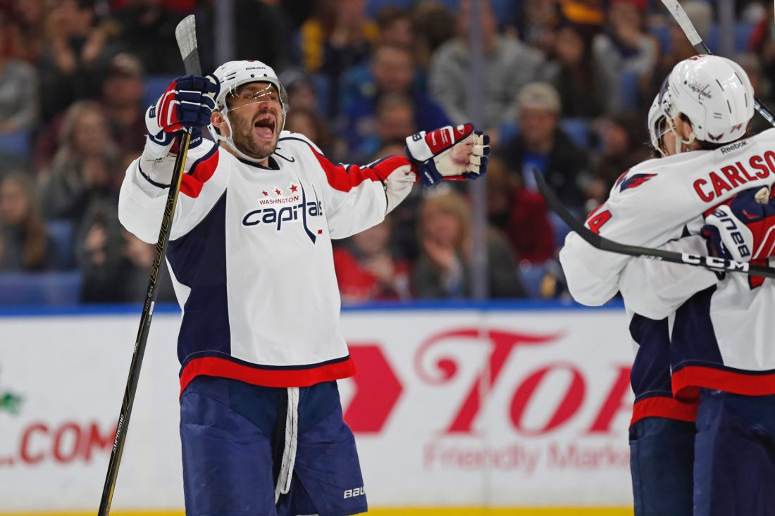 Alex Ovechkin will look to celebrate against the Pittsburgh Penguins. (Harry Scull Jr./Buffalo News)