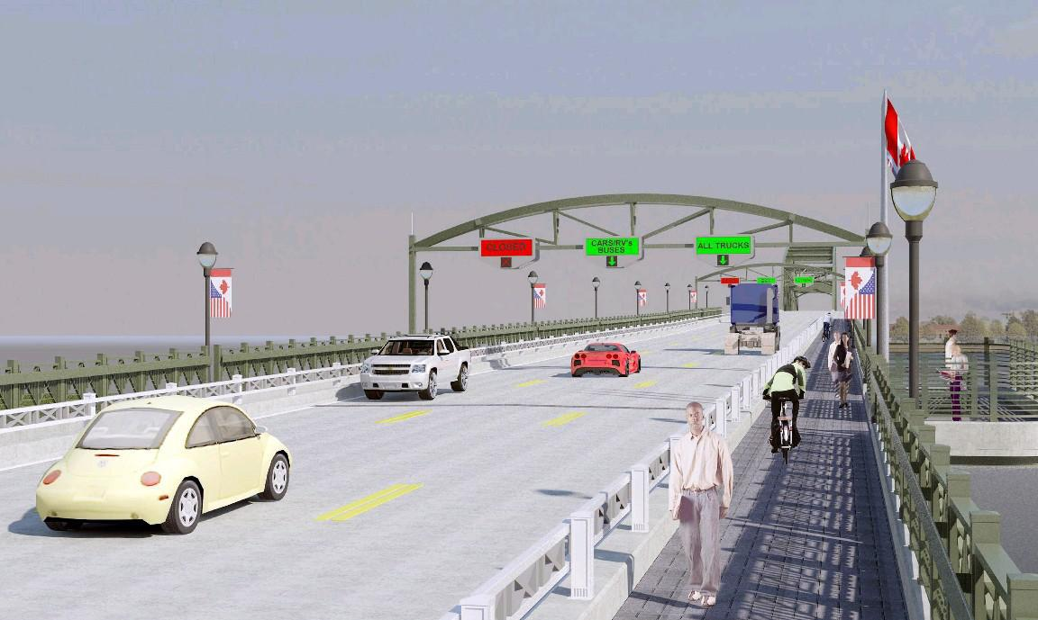 Cyclists and walkers crossing the Peace Bridge will get shuttle rides during a $100 million rehab project that, when finished, will provide a new, wider sidewalk and viewing area as shown in this rendering.