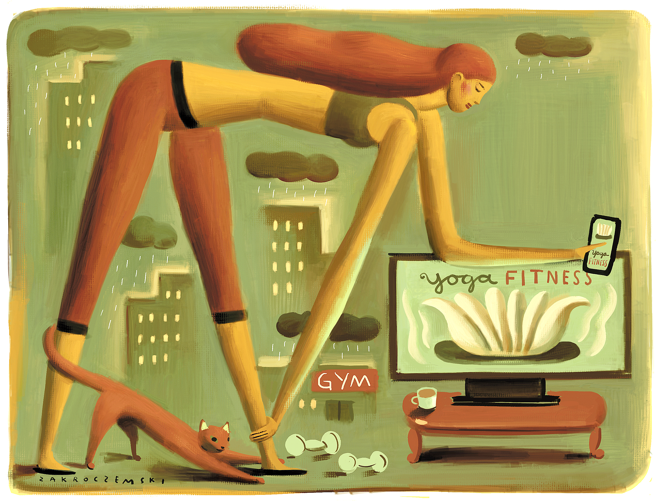 Online videos and smartphone apps can combine to give you a healthy workout. (Photo illustration by Dan Zakroczemski/Buffalo News)