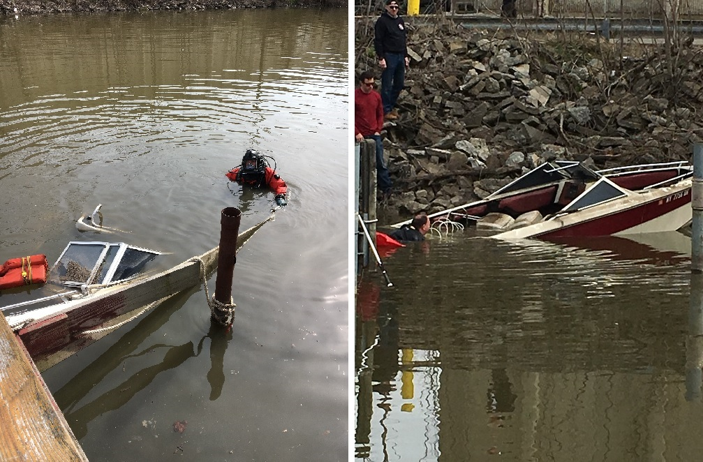 A sunken boat was found in about 12 feet of water in Ellicott Creek in the City of Tonawanda on Thursday. (Photos courtesy of City of Tonawanda Police)