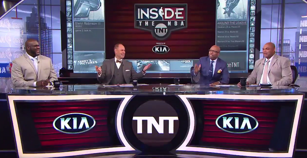 Inside the NBA's crew of Shaquille O'Neal, ERnie Johnson, Kenny Smith and Charles Barkley seemed bemused by Dyngus Day (screengrab via Twitter)