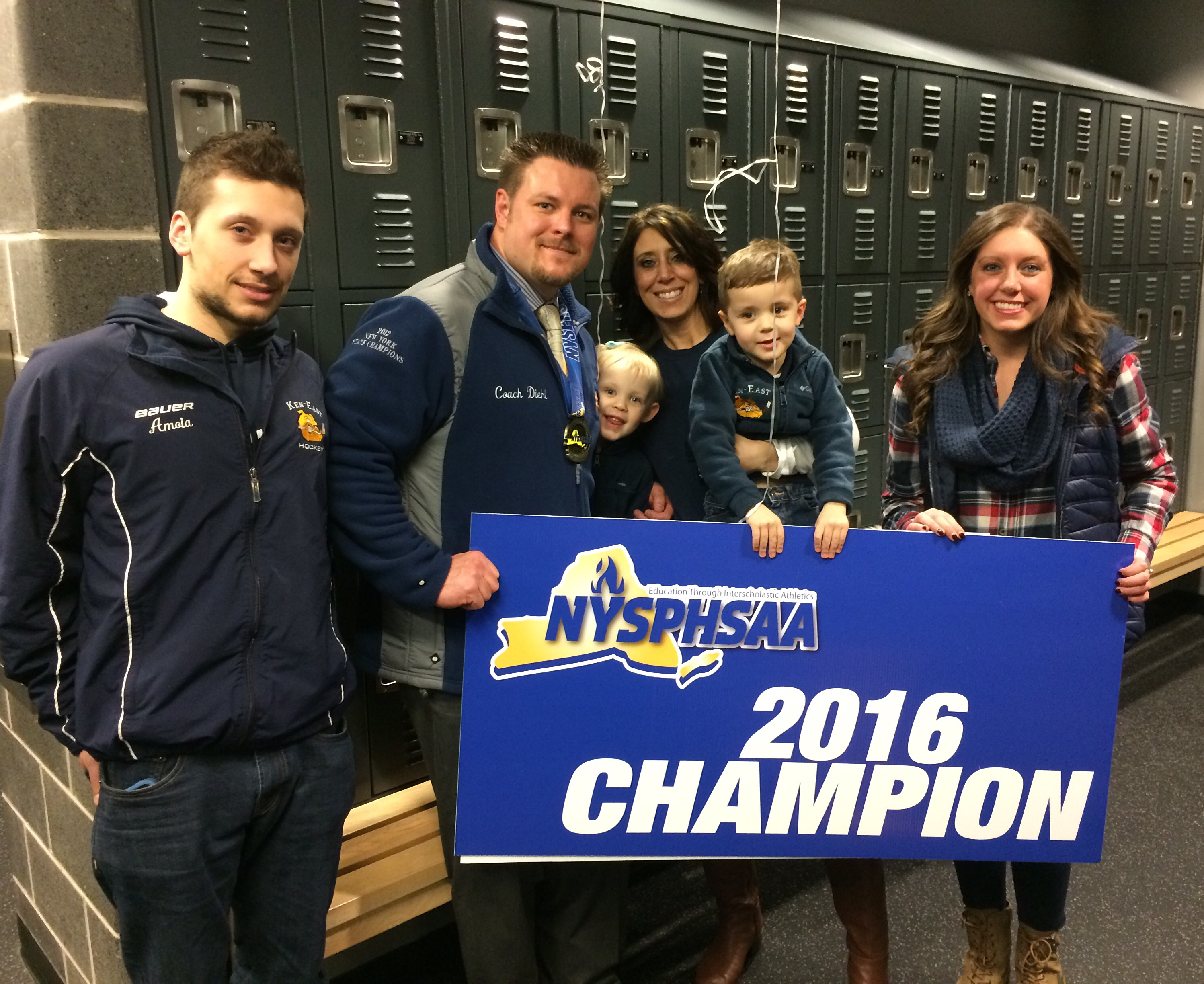 Thomas Diehl Sr.'s family celebrates his 2016 state hockey championship, from left, Tony, Thomas, Teagan, Dawn , T.J. and Summer.