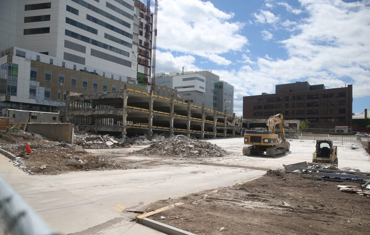 Contractors demolished a parking garage at on Ellicott Street in June. A new ramp is under construction on the Buffalo Niagara Medical Campus. (John Hickey/ Buffalo News file photo)