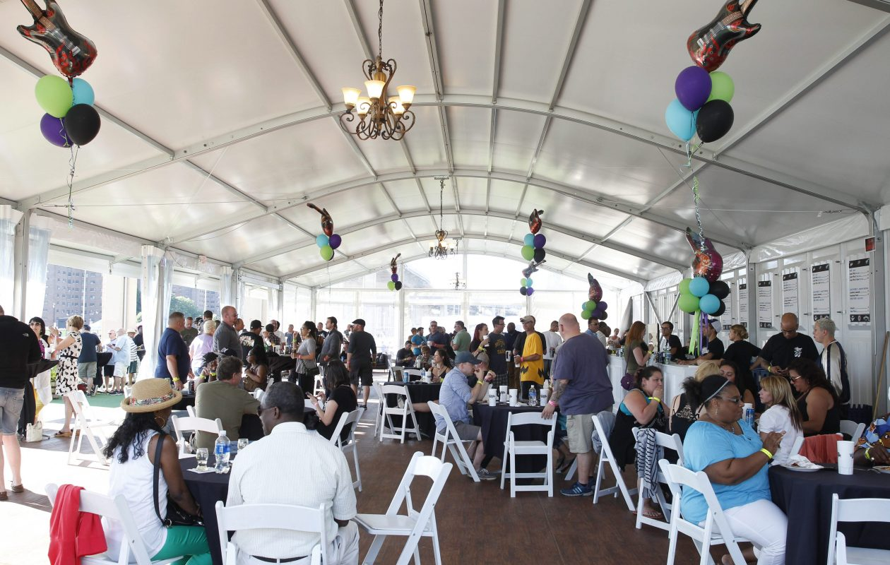 Food, drink and seating areas were inside the VIP tent during the  Canalside concerts in 2016. (Sharon Cantillon/Buffalo News)