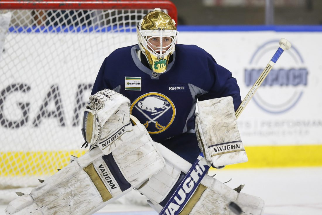 Cal Petersen is learning from the pros at the world championships. (Harry Scull Jr./Buffalo News file photo)