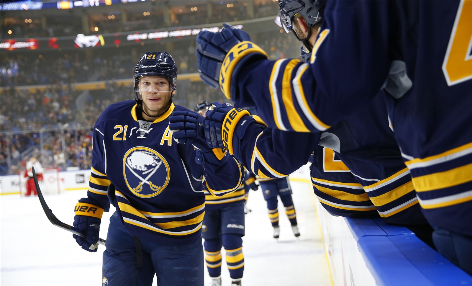 Kyle Okposo has continued to improve since leaving the hospital last month. (Harry Scull Jr./Buffalo News)