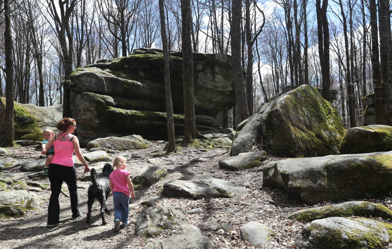 Thunder Rocks is a popular spot in Allegany State Park, although most people are mistaken as to their origin. (Sharon Cantillon/Buffalo News)