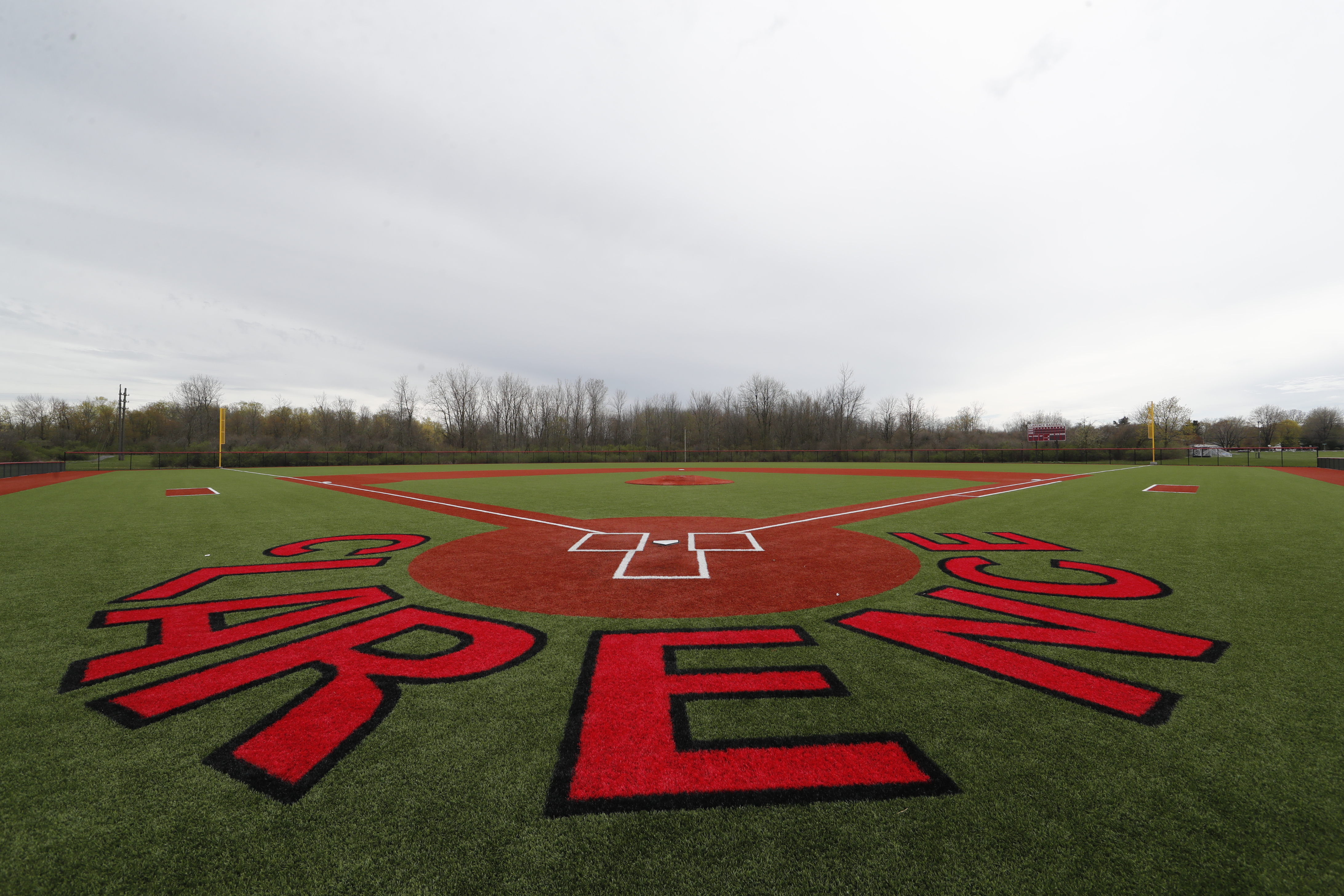Athletic upgrades have been made to the baseball field at Clarence High School, pictured on Tuesday, April 25, 2017. (Harry Scull Jr./Buffalo News)
