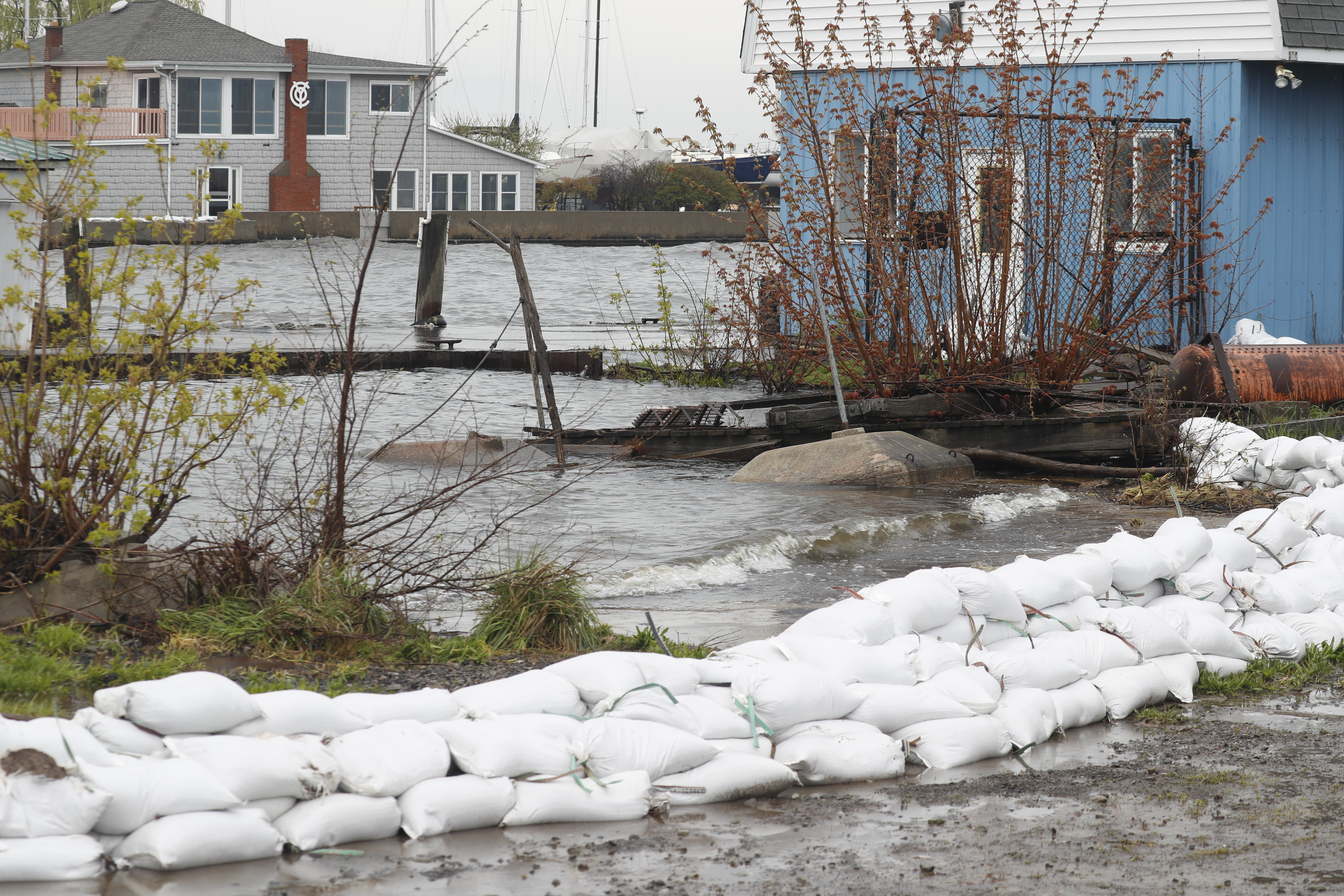 Sand bags sit alongside properties near the mouth of 18 Mile Creek at Lake Ontario to keep from flooding in Olcott, N.Y. on  Monday May 1, 2017. =(John Hickey/Buffalo News)