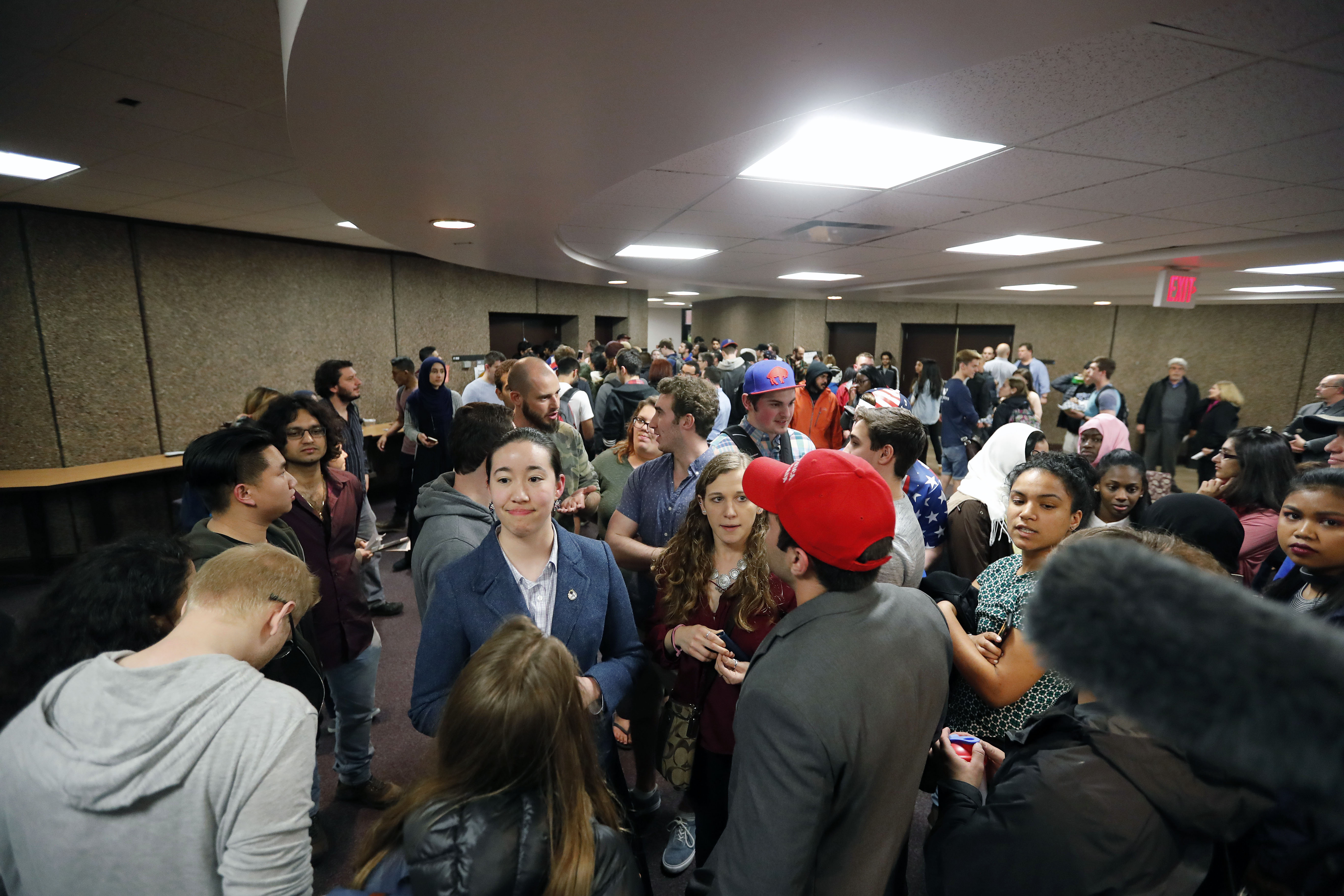 Due to fire safety codes, some UB students were not allowed to enter the lecture hall to hear Robert Spencer in Knox Hall on the University at Buffalo North Campus Monday.  (Mark Mulville/Buffalo News)