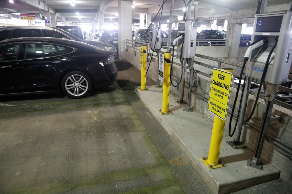 Drivers can recharge their electric vehicles for free at these electric car charging stations in the hourly rate parking ramp at the Buffalo Niagara International Airport.   (John Hickey/Buffalo News)