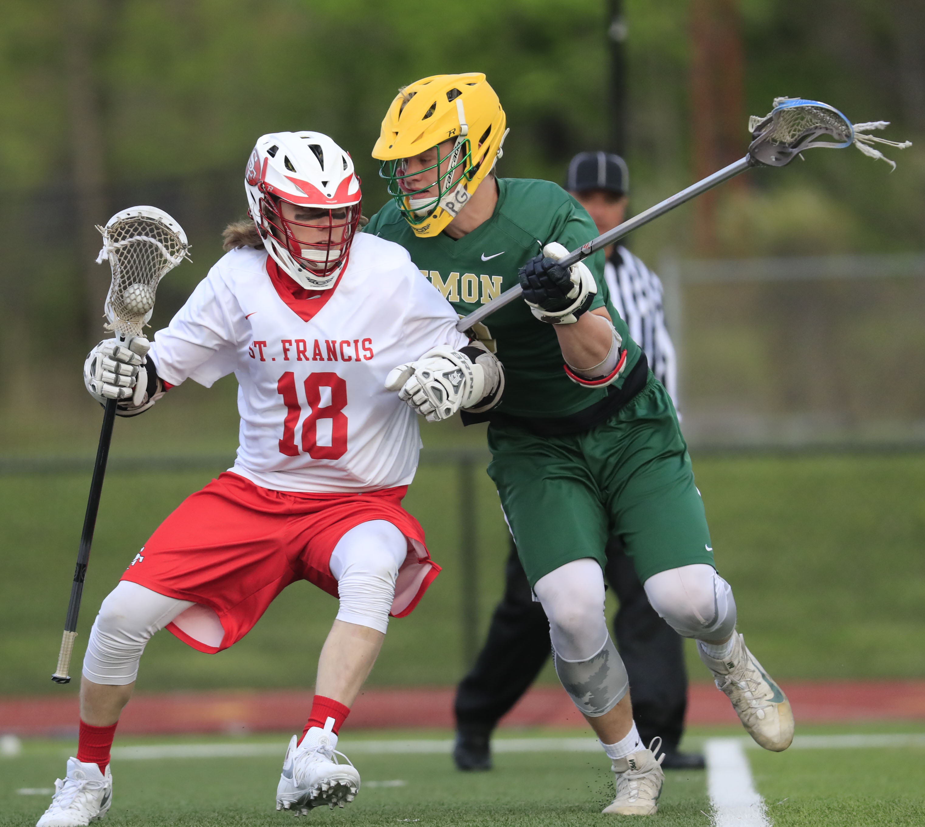 St. Francis' Tristan Engelhardt moves the ball against Timon-St. Jude during the Red Raiders' 8-6 victory Thursday at Polian Family Field. (Harry Scull Jr./Buffalo News)