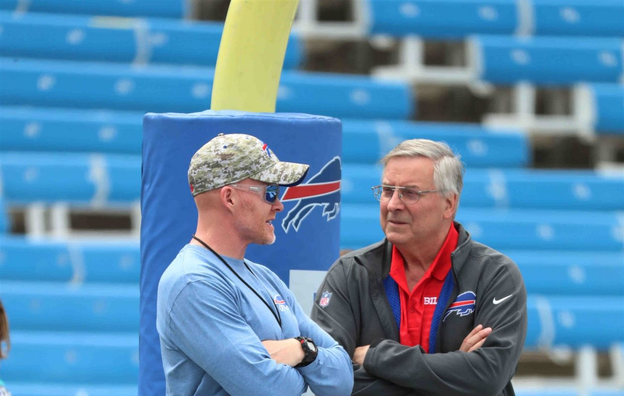 Owner Terry Pegula has entrusted coach Sean McDermott to turn around the Bills, but a rebuild could take time. (James P. McCoy/Buffalo News)