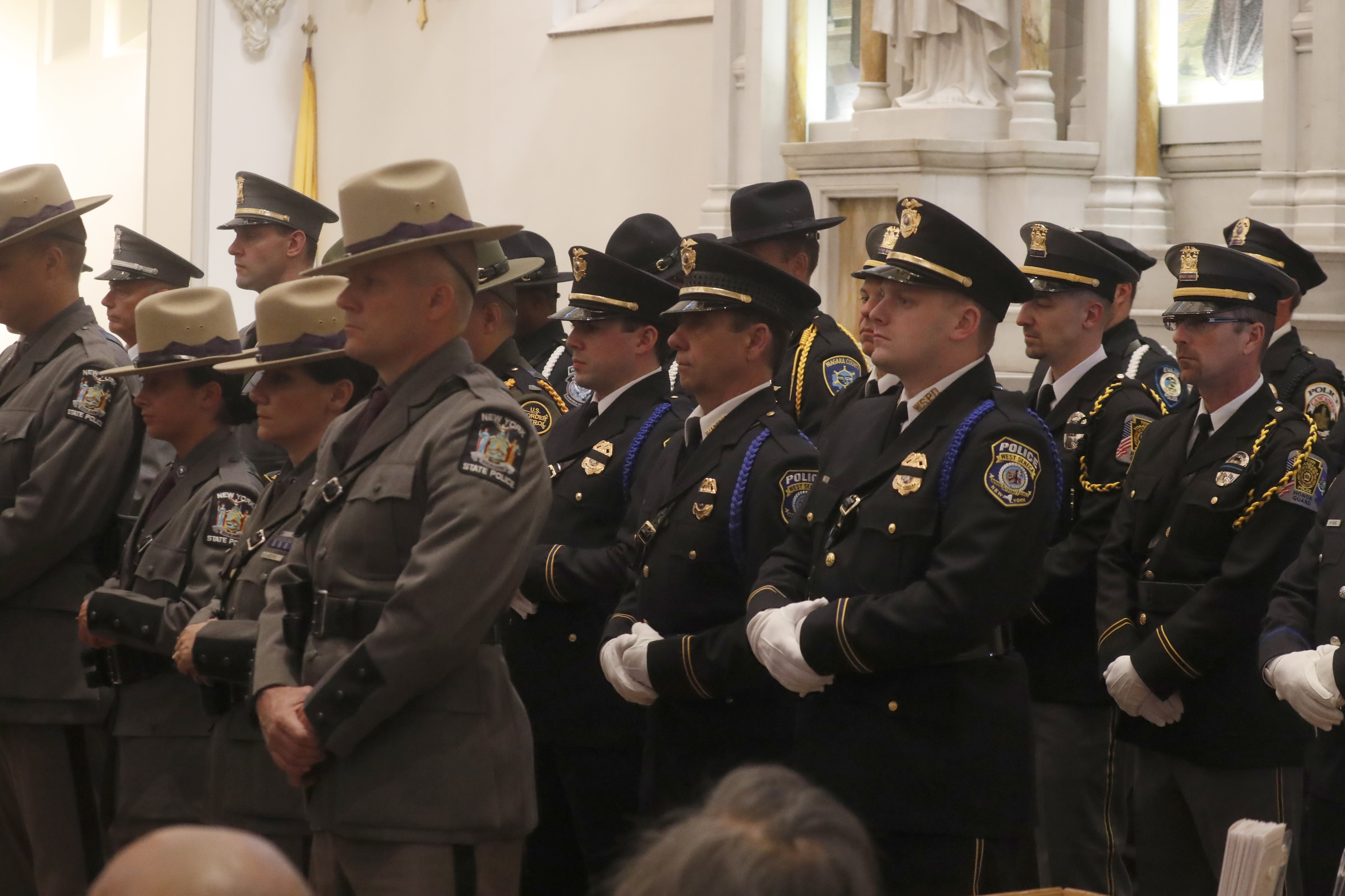 Law enforcement officers attend a Law Enforcement Memorial Service at St. Joseph's Cathedral in Buffalo on  Monday May 15, 2017 to honor slain officers.  (John Hickey/Buffalo News)