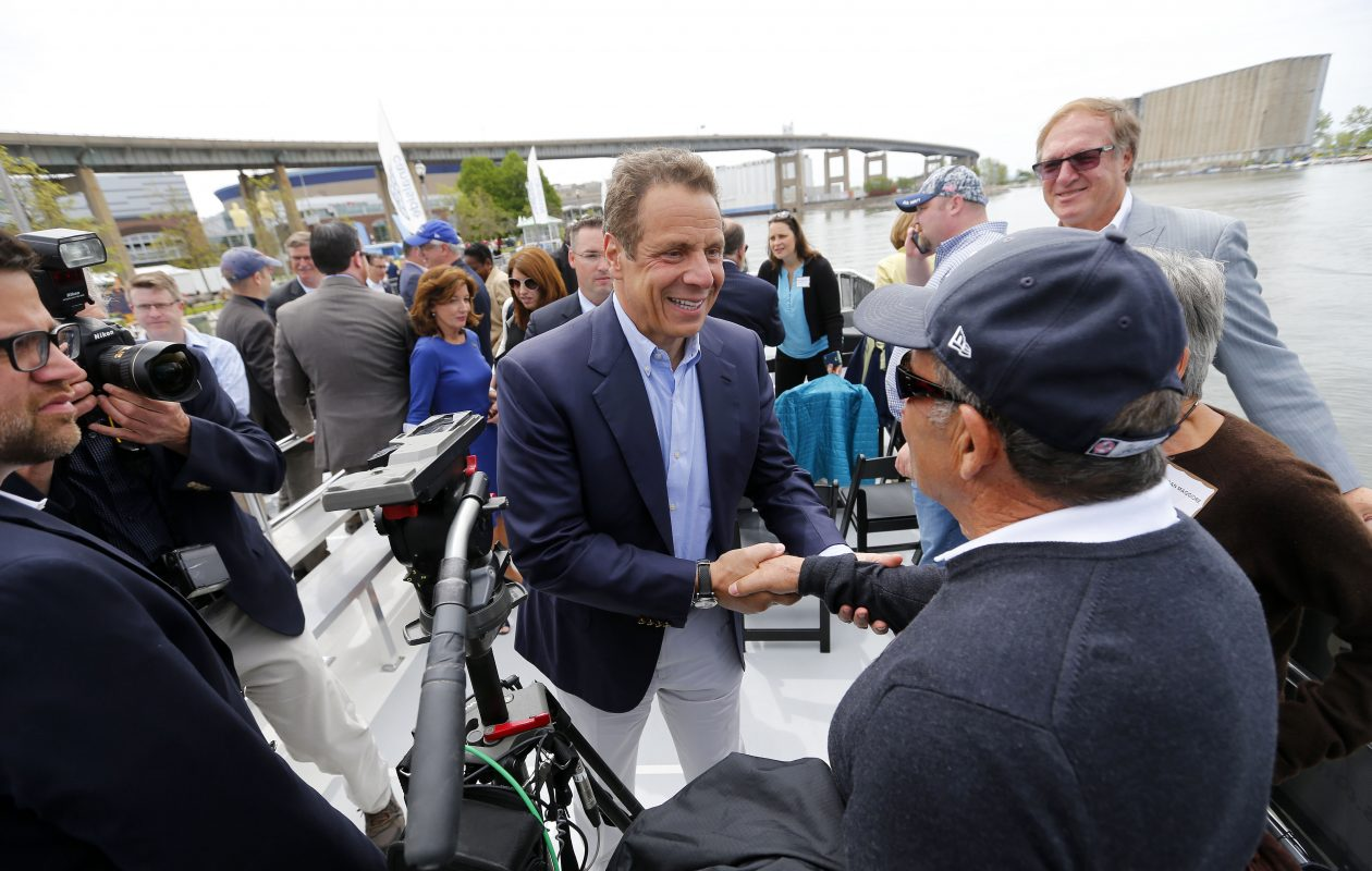 Gov. Cuomo greets people after a tour of the Buffalo waterfront on Wednesday, May 24, 2017. (Mark Mulville/Buffalo News)