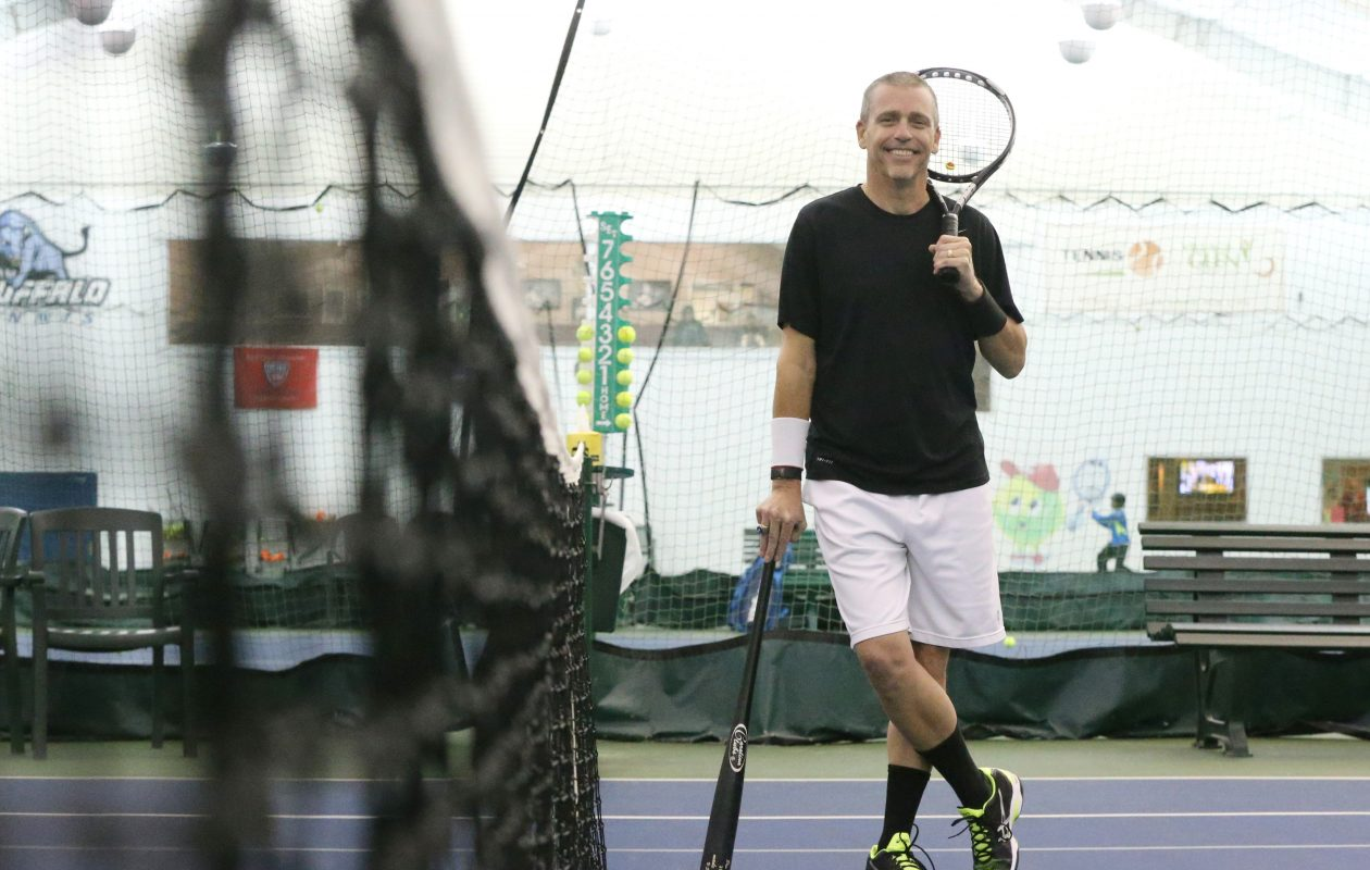 Joe Vizzi found his baseball skills translated to tennis when he took up the sport at 56. (James P. McCoy / Buffalo News)