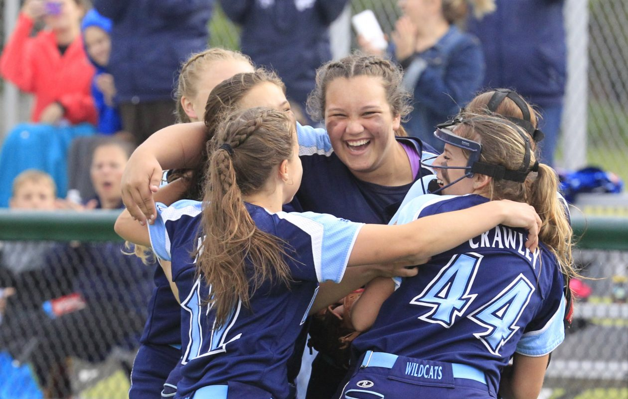 Depew celebrates its victory over Alden for the Class B-1 softball title. (Harry Scull Jr./Buffalo News)