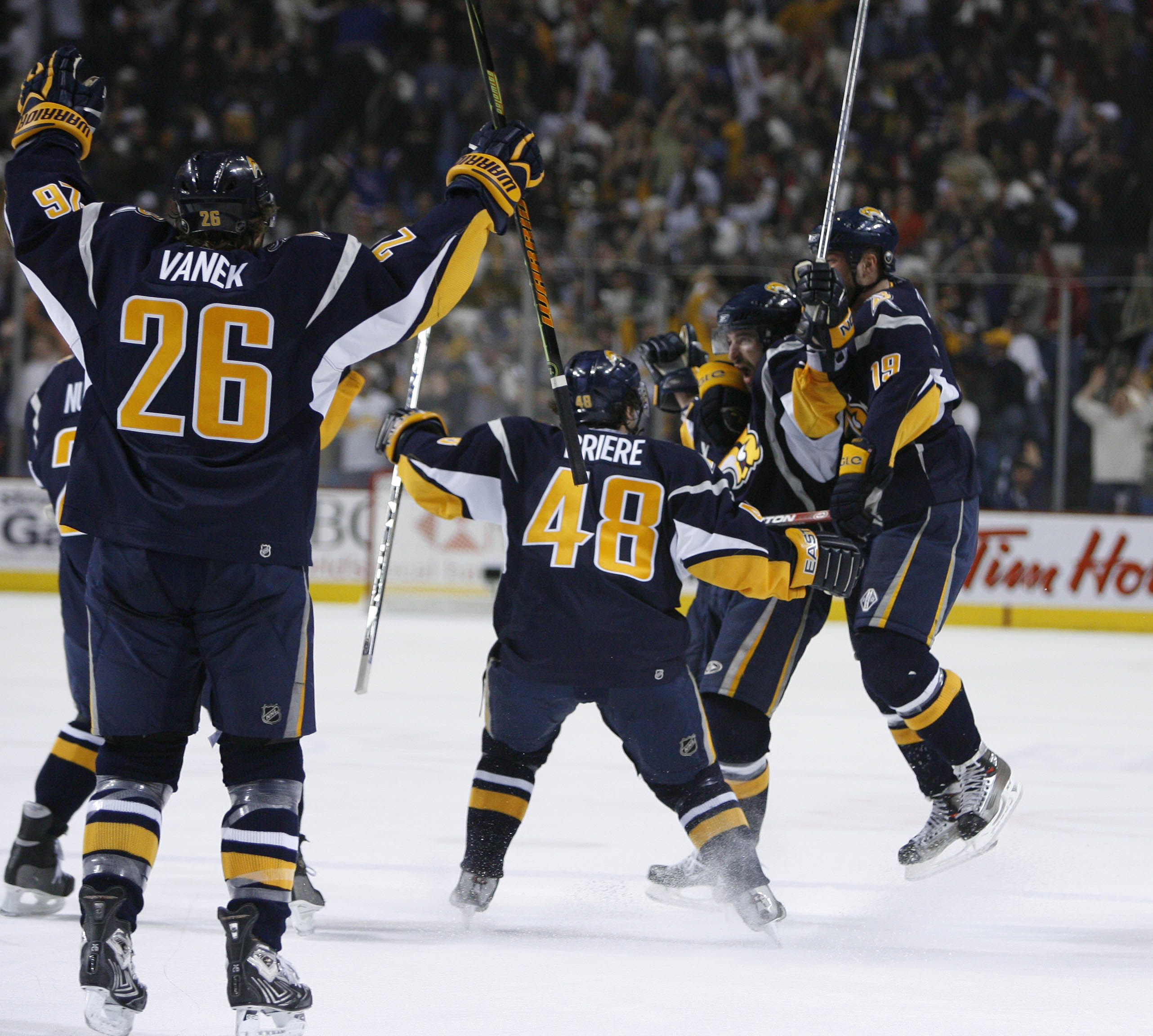 The Sabres celebrate after Chris Drury's tying goal late in the third period of their playoff game against the Rangers at HSBC Arena on Friday, May 4, 2007. (Mark Mulville/Buffalo News)