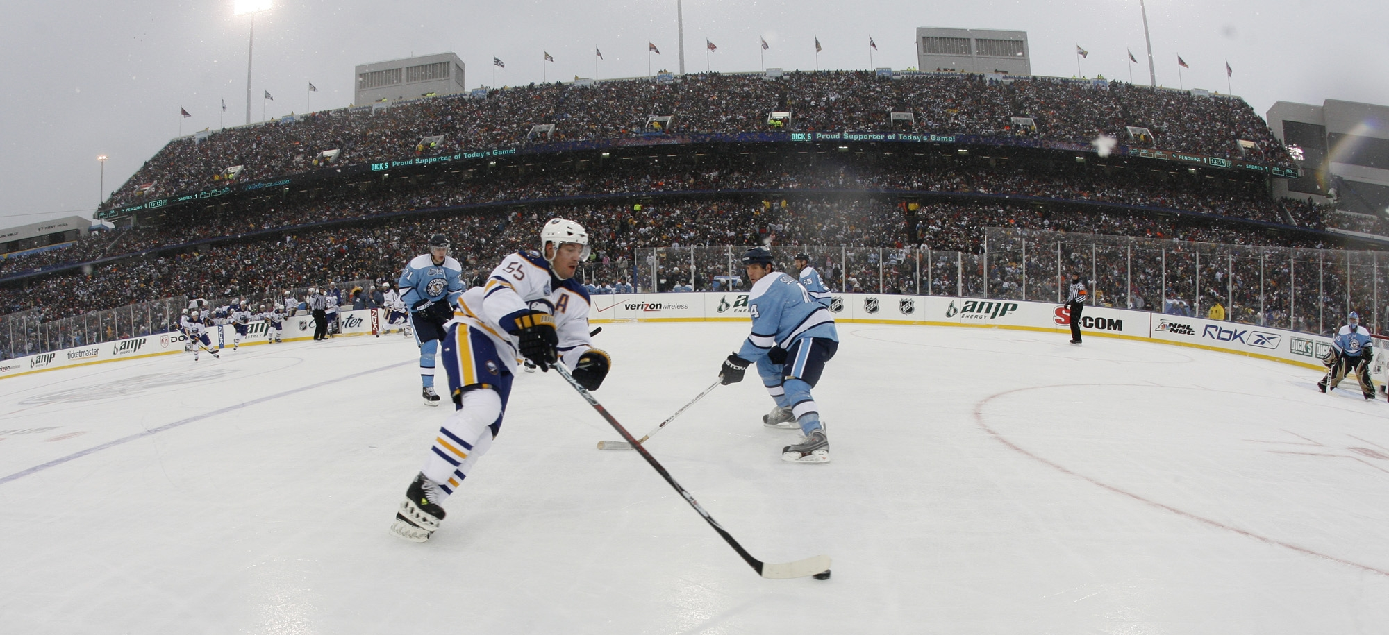 The Sabres and Jochen Hecht played the Penguins in the Bills' stadium Jan. 1, 2008. (Harry Scull Jr./Buffalo News file photo)