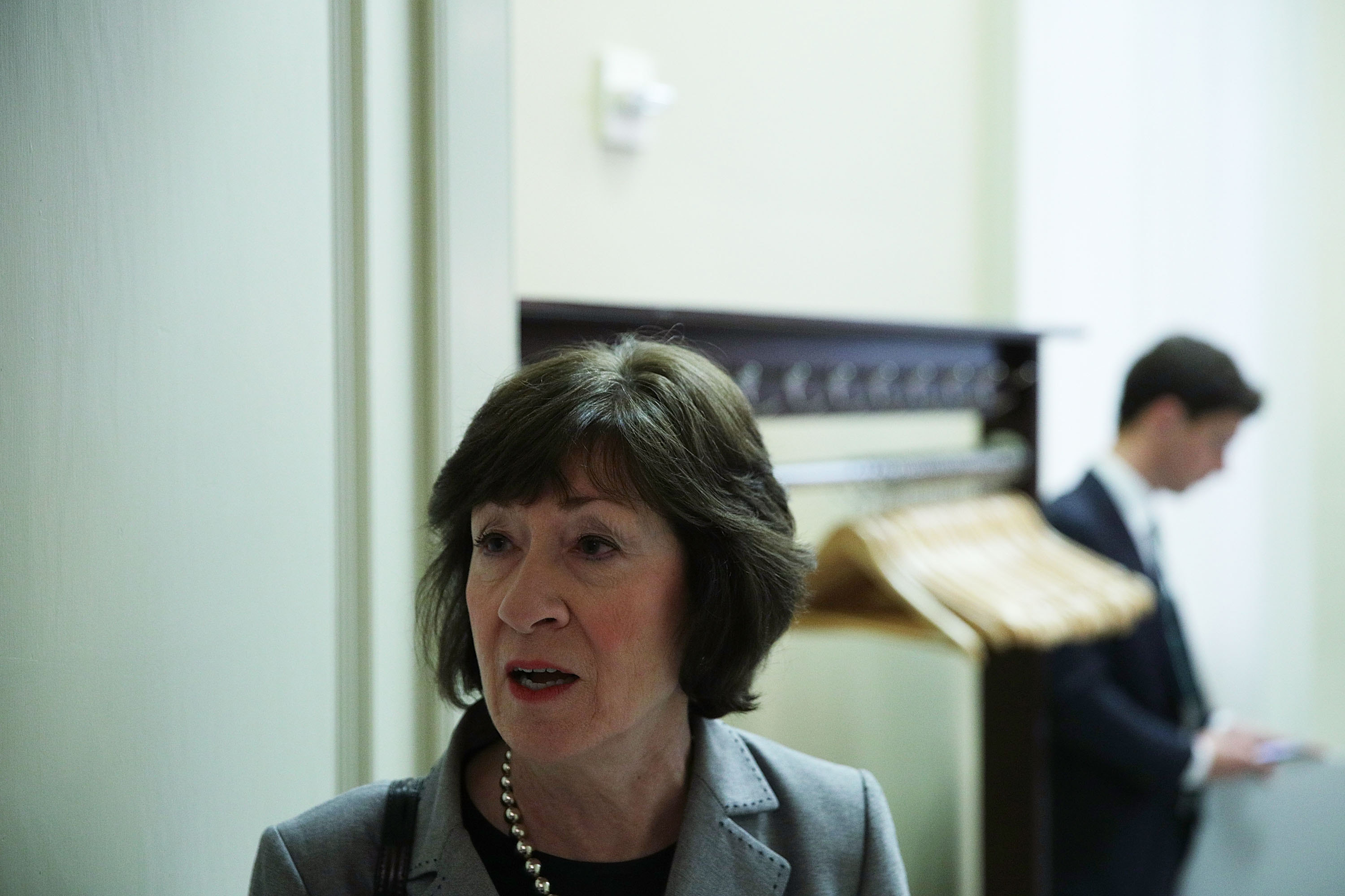 Sen. Susan Collins (R-Maine) arrives at the weekly Senate Republican Policy Luncheon at the Capitol May 9, 2017. Senate Republican held a policy luncheon to discuss GOP agenda. (Getty Images)