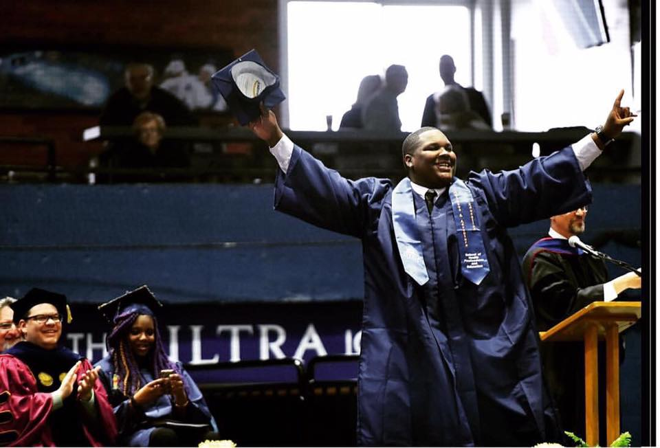 Alfonzo Whitehurst, graduation ceremony, Utica College. (Photo by Sarah Condon, used with permission of the Utica Observer-Dispatch)