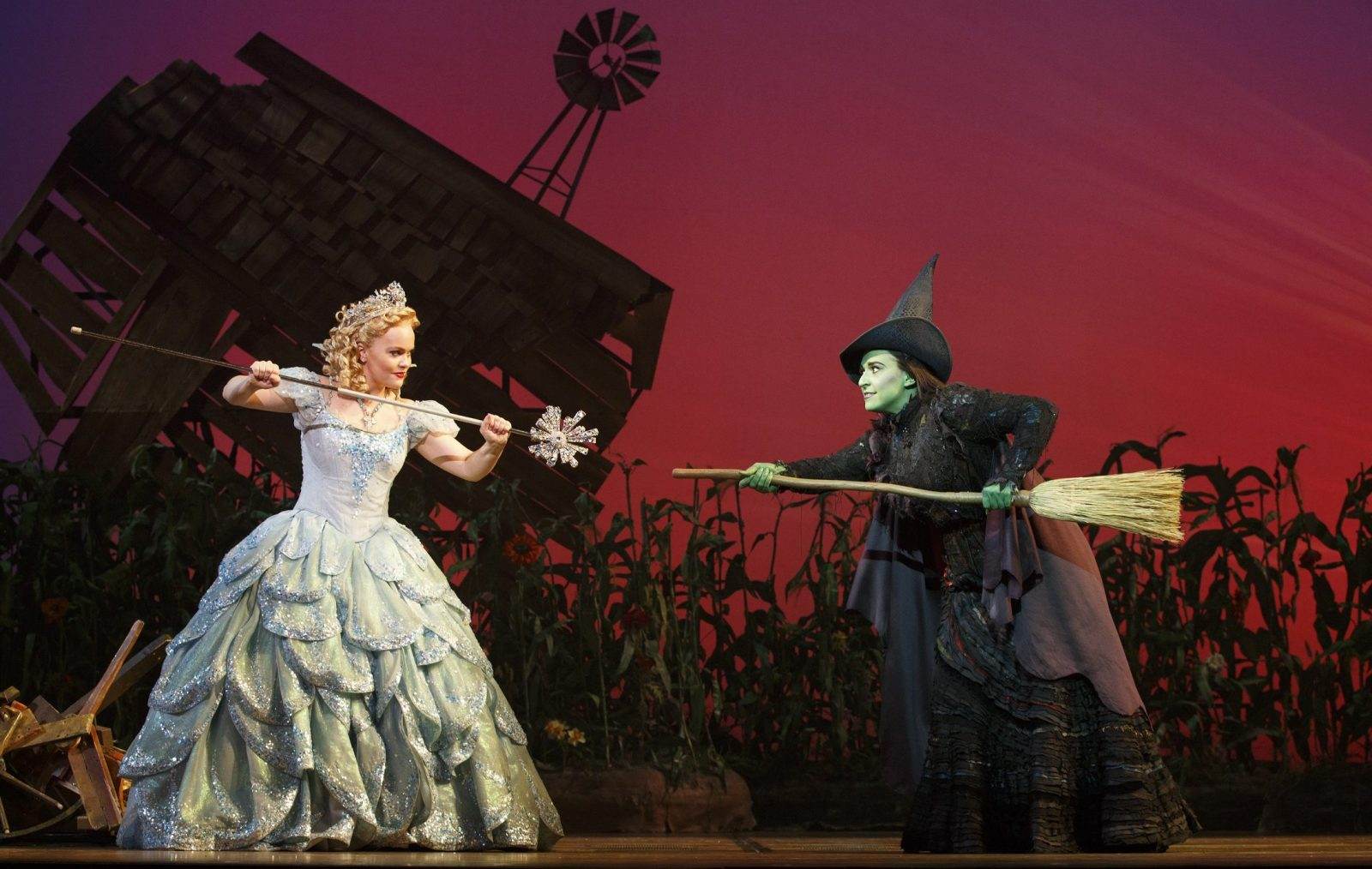 """Jessica Vosk, right, is Elphaba in """"Wicked,"""" which plays at Shea's Performing Arts Center through June 4."""