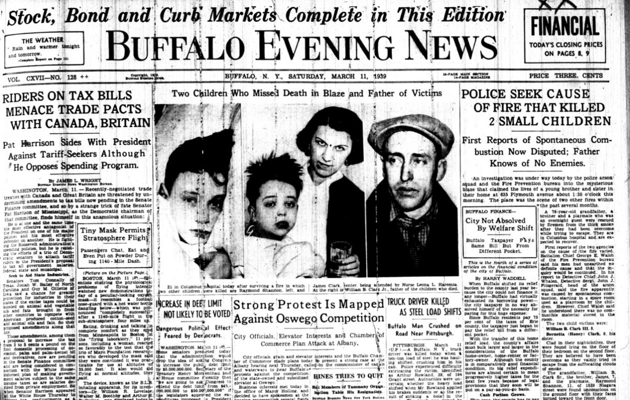 The front page of the Buffalo Evening News from March 11, 1939, following a fatal fire at 635 Plymouth Street in Buffalo.