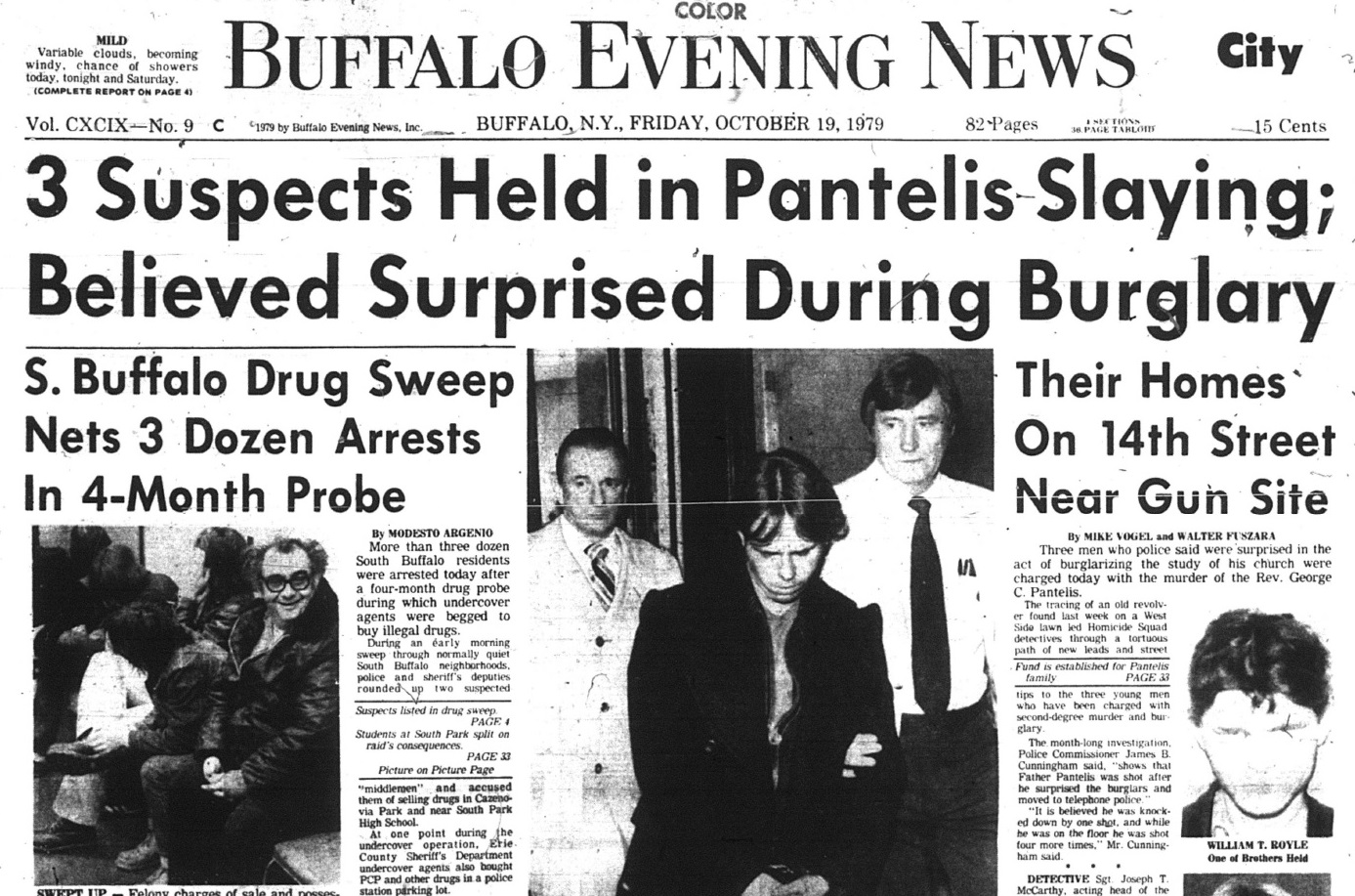 The front page of the Buffalo Evening News from Oct. 18, 1979, following the arrest of William Royle, Kevin Royle, and Joseph Mann for the Sept. 16, 1979, slaying of Greek Orthodox priest, Father George C. Pantelis.