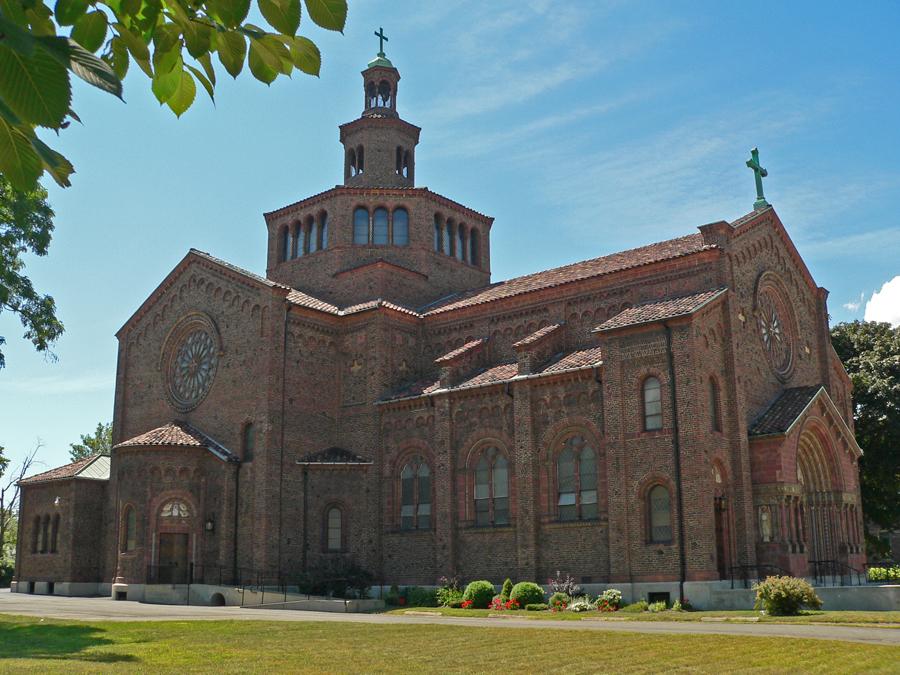 Blessed Trinity Catholic Church features handmade Harvard bricks.