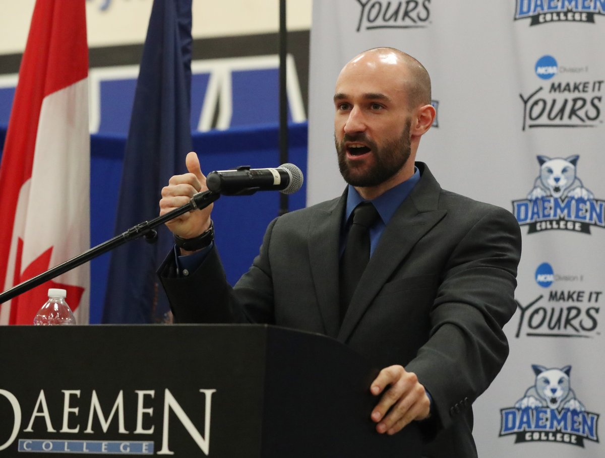 Daemen introduced Don Gleason as its new men's volleyball coach at a Friday news conference (James P. McCoy/Buffalo News)