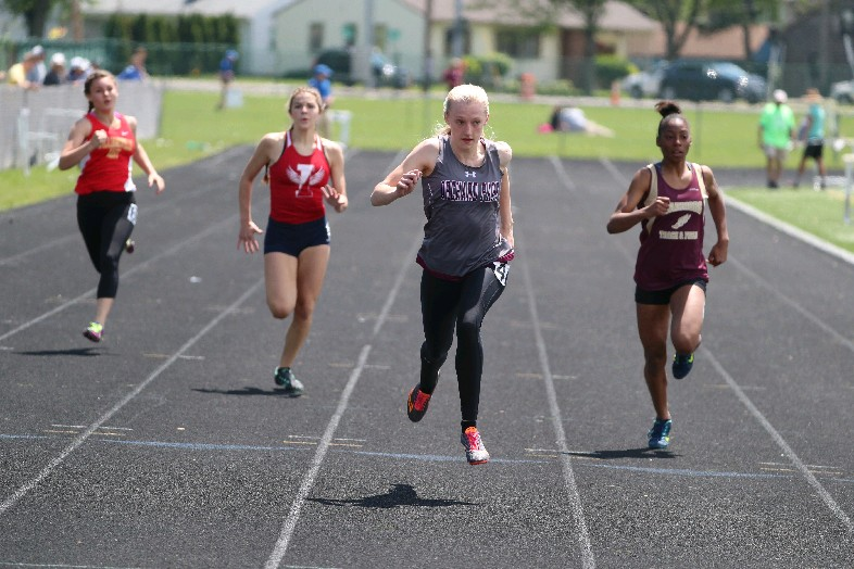 Jenna Crean was ahead of the competition all day on Saturday at the ECIC track and field meet. (Photo by James P. McCoy / Buffalo News)