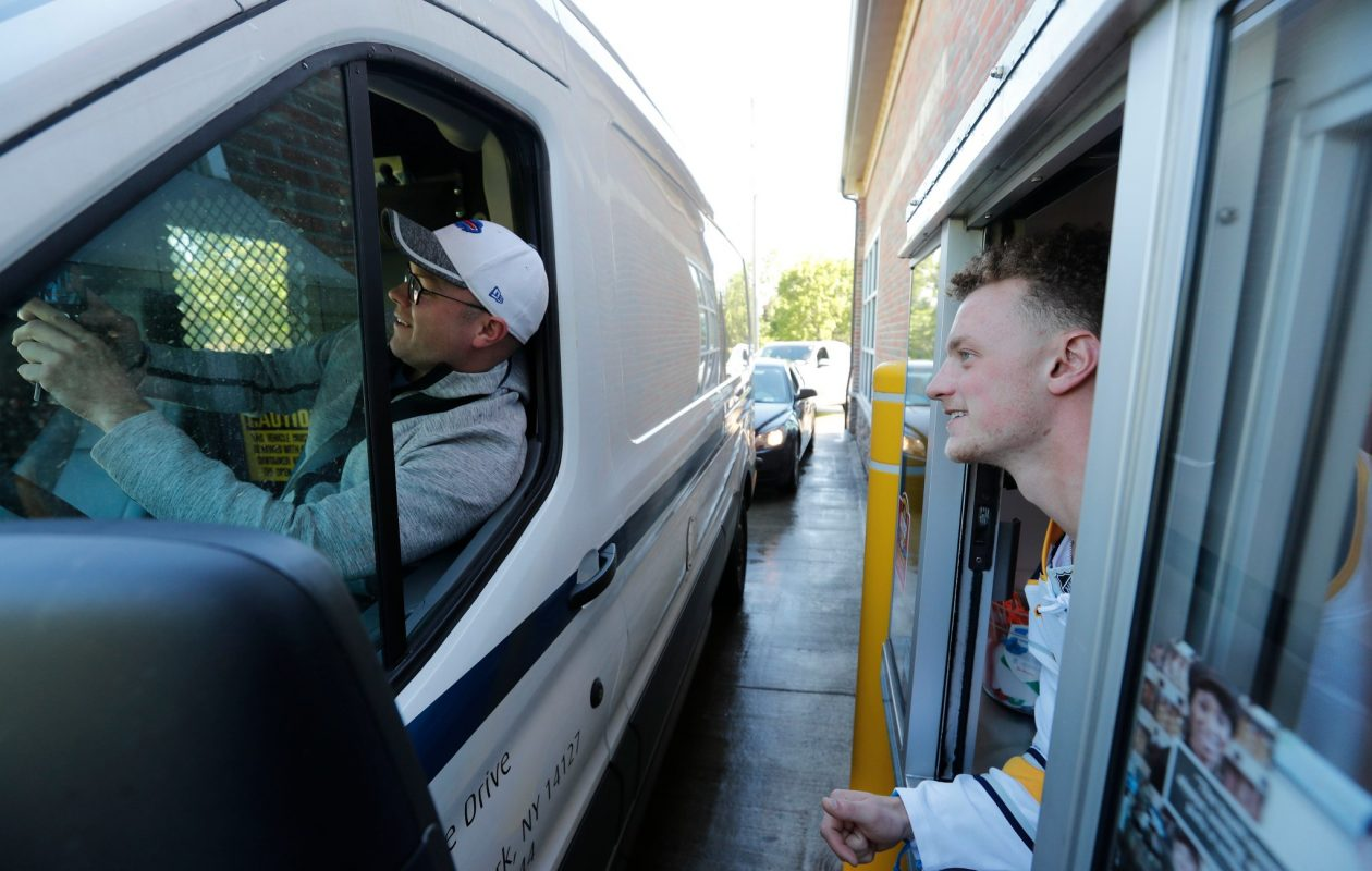 "Jack Eichel, working at a Tim Hortons in Orchard Park during the chain's ""Camp Day"" fundraiser, spoke with the News during a break in his shift about new GM Jason Botterill and the firings of Dan Bylsma and Tim Murray. (Mark Mulville/Buffalo News)"