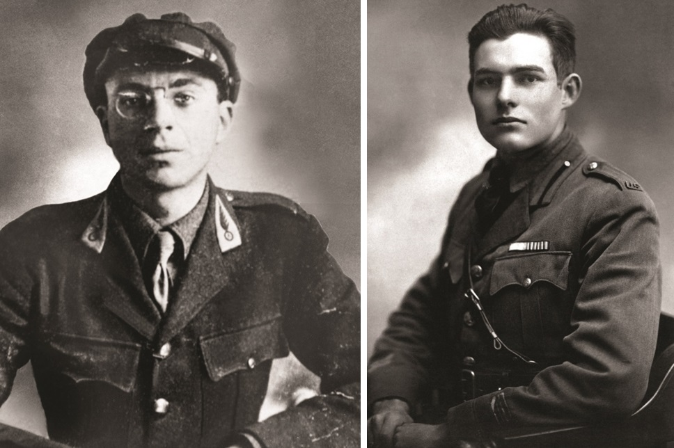 John Dos Passos, left, and Ernest Hemingway.