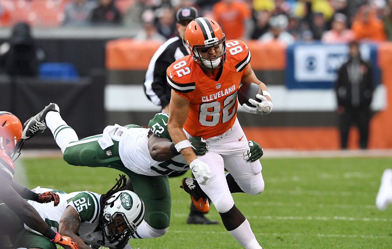 Former Cleveland Browns tight end Gary Barnidge in action against the New York Jets. (Photo by Jason Miller/Getty Images)