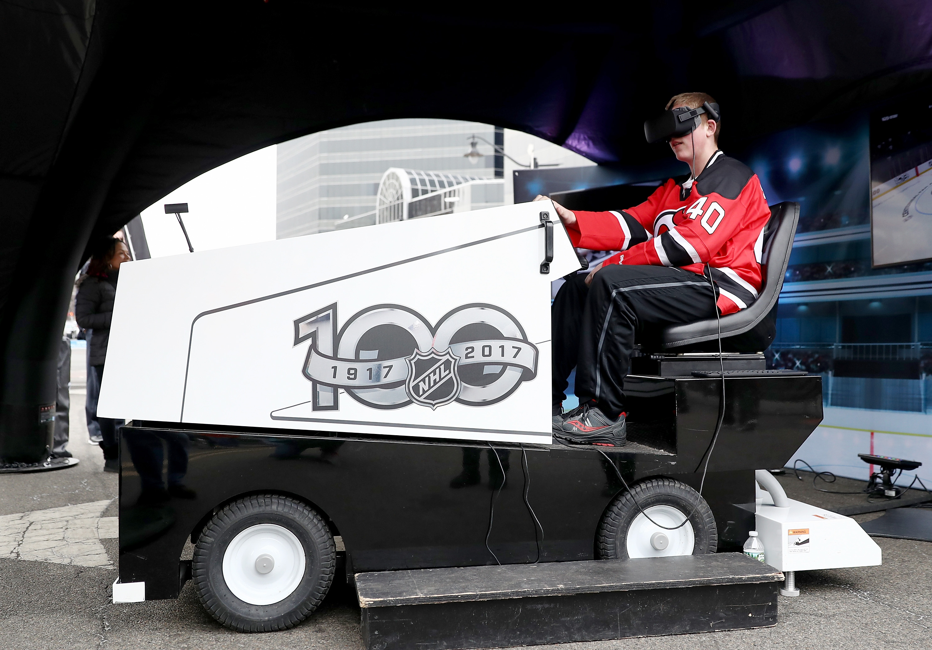 The NHL Centennial Fan Arena, which stopped in New Jersey in March, features a virtual-reality Zamboni. (Getty Images)