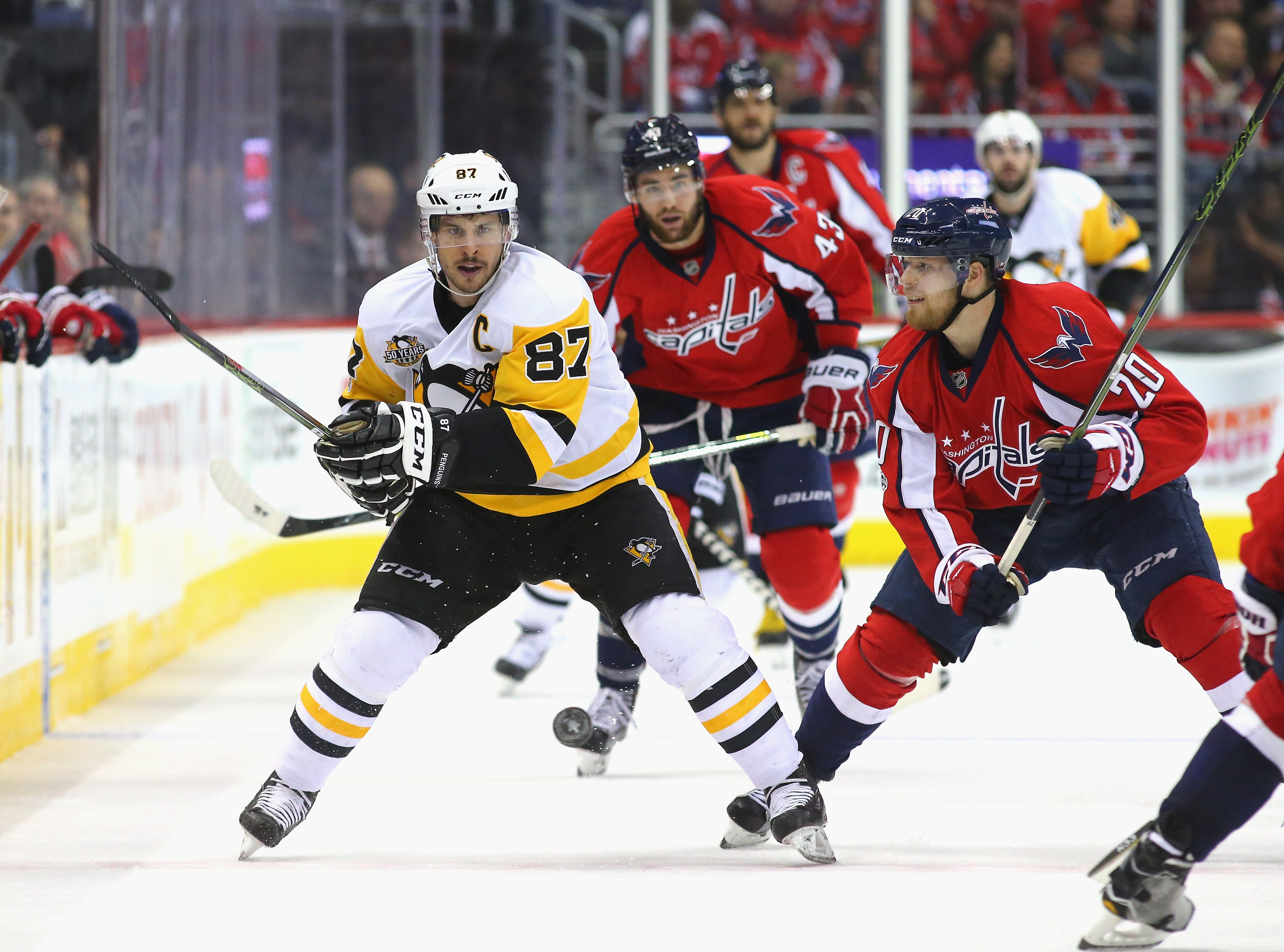 Sidney Crosby and the Penguins will wrap up their playoff series with Washington on Wednesday night. (Getty Images)