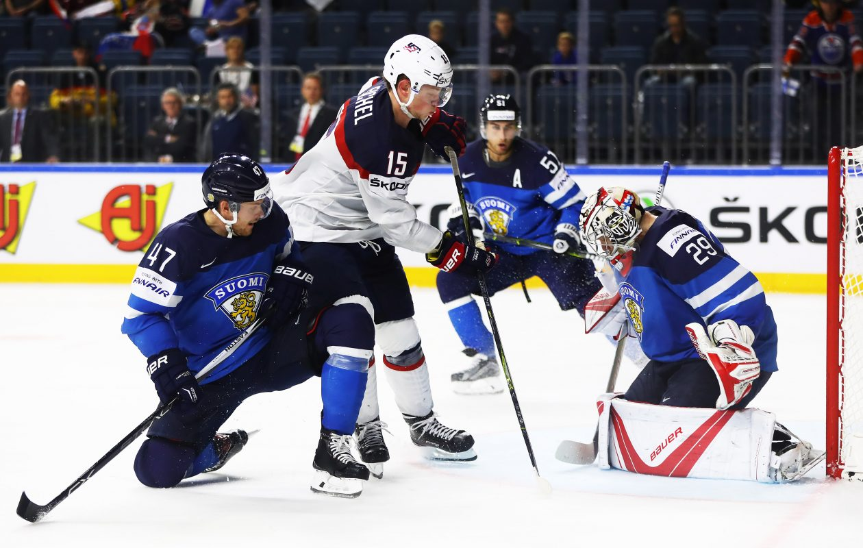 Jack Eichel and the United States couldn't beat Finland goaltender Harri Sateri, leading to an early exit at the world championships. (Getty Images)