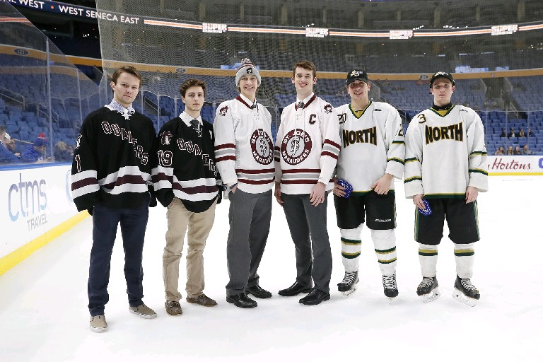 Large School All-Stars include (left to right), Thomas Held (Orchard Park); Zachary Biasillo (Orchard Park); Nathan Berke (St. Joe's); Jack Lalley (St. Joe's); Anthony Trigilio (Williamsville