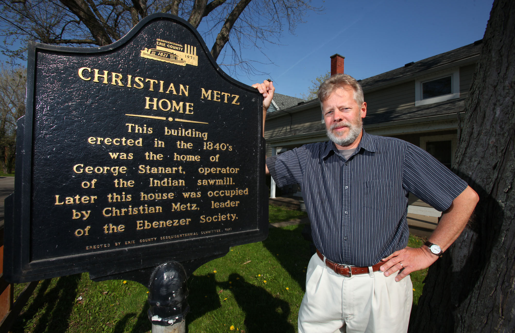 Town Historian James C. Pace is pictured at the   historic Christian Metz house in this file photo. (Harry Scull Jr. / Buffalo News)