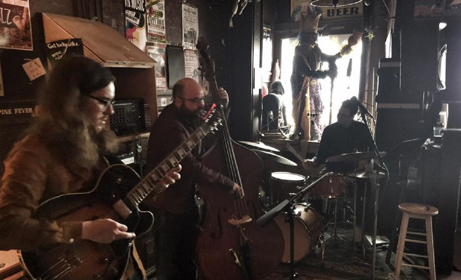 The Jared Tinkham Trio, Nietzsche's Jazz Fest, May 14, 2017. Photo by Jeff Miers.