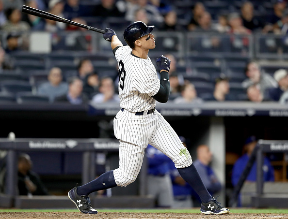 Yankees slugger Aaron Judge set an MLB rookie record with 13 home runs over his first 25 games (Getty Images).