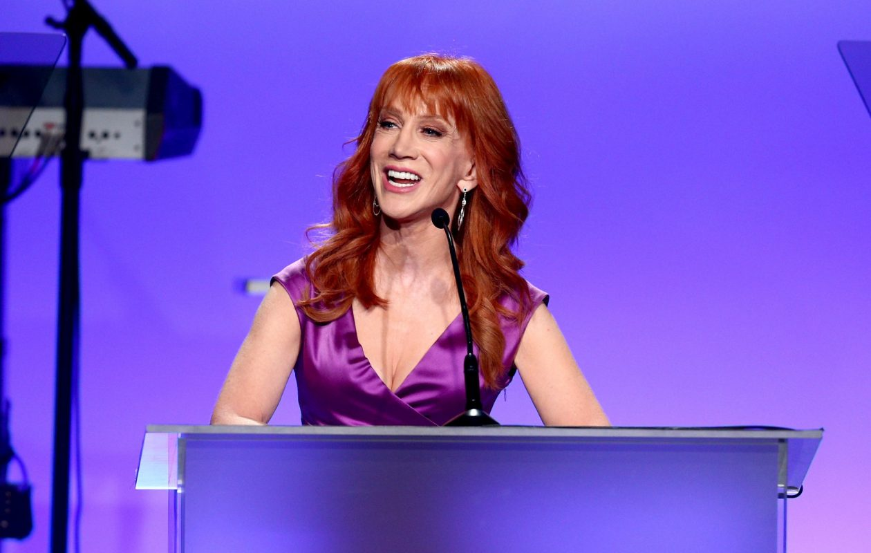 Comedian Kathy Griffin's firing by CNN came hours after she apologized for the shocking picture in which she was seen holding a prop of President Trump's bloody, severed head.  (Getty Images)