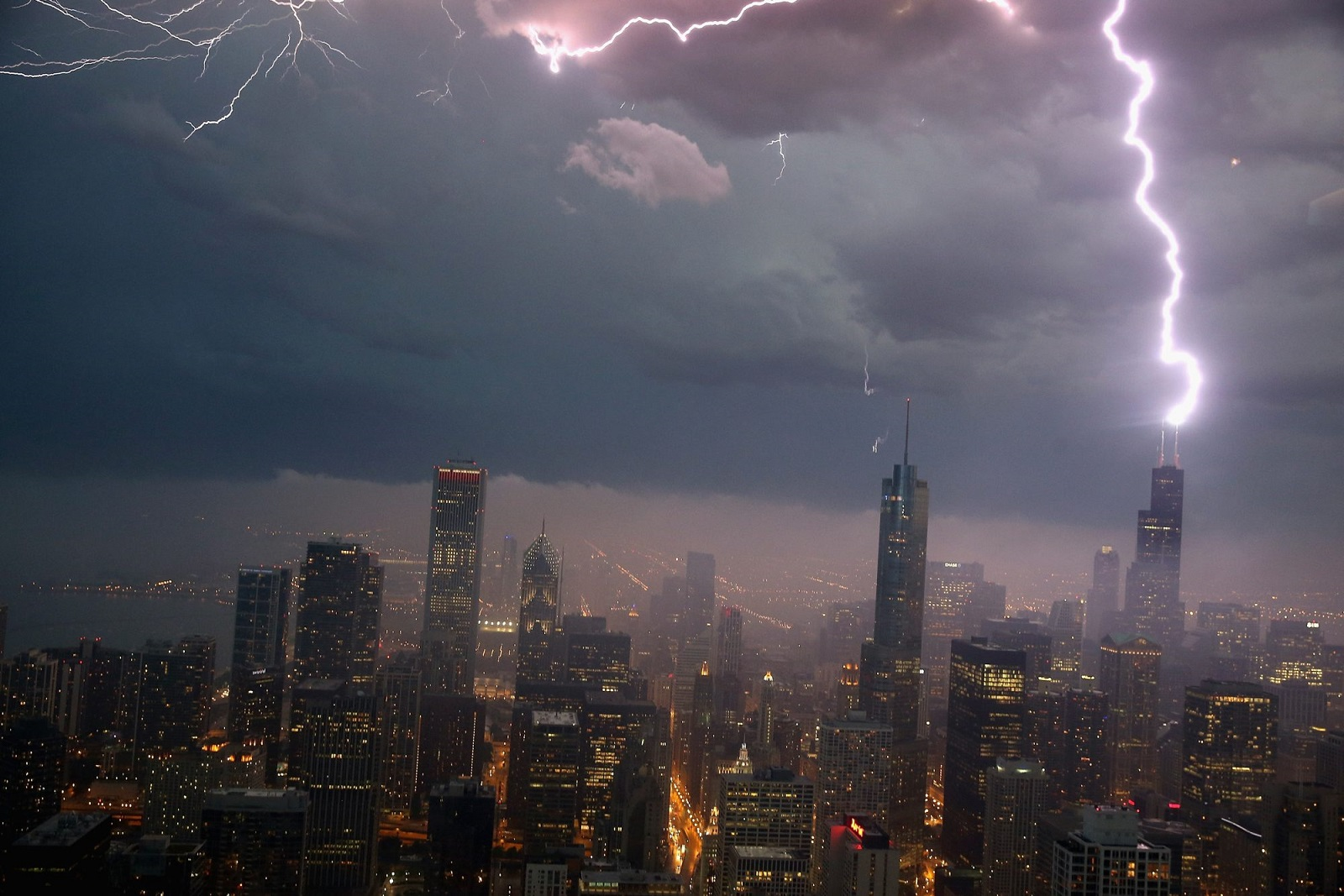 Lightning strikes the Willis Tower (formerly Sears Tower) in 2013 in Chicago. (Scott Olson/Getty Images)