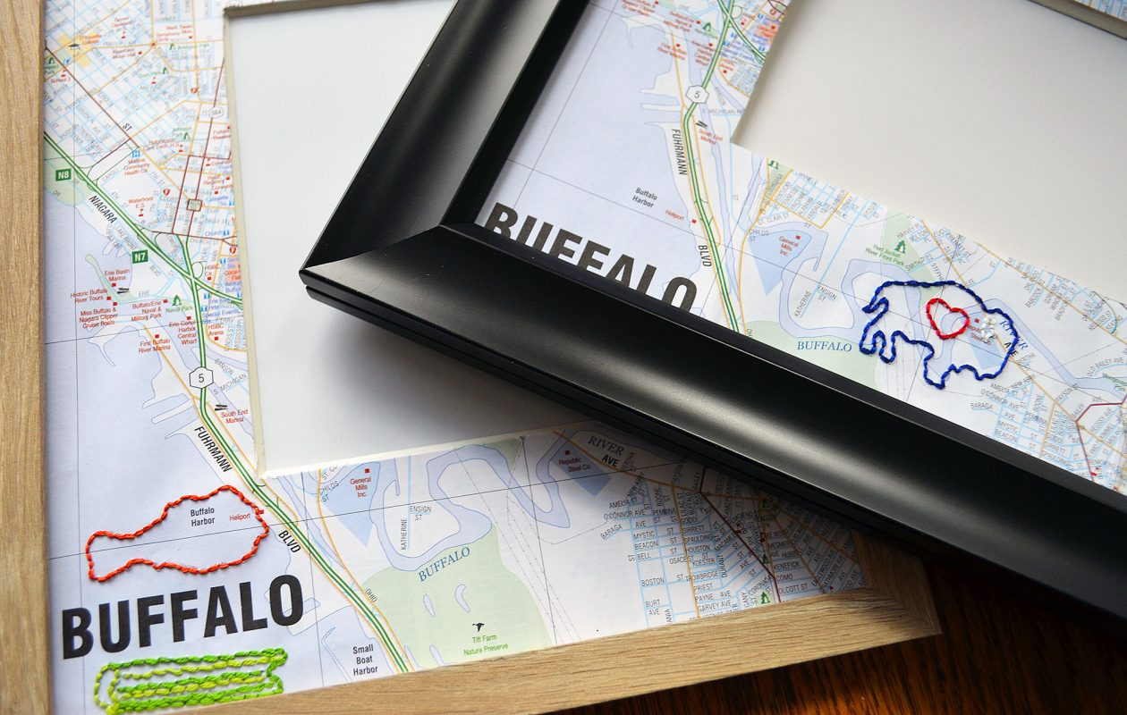 Map + Stitch personalized frame.